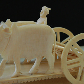 WWII Indian Ivory? Oxcart and Driver Carving Souvenir - Asian