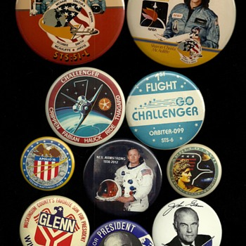 NASA Pre-Flight Challenger, Apollo, Armstrong and Glenn Pinback Buttons - Medals Pins and Badges
