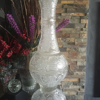 Very old cut Crystal Three  foot vase - Art Glass