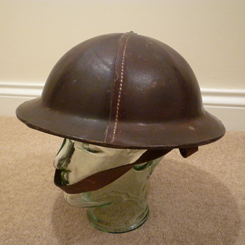 British WWII leather civil defence helmet