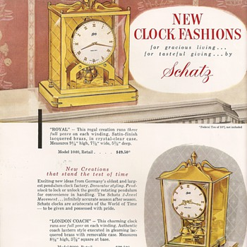 Schatz Advertisement from ca. 1955 - Clocks