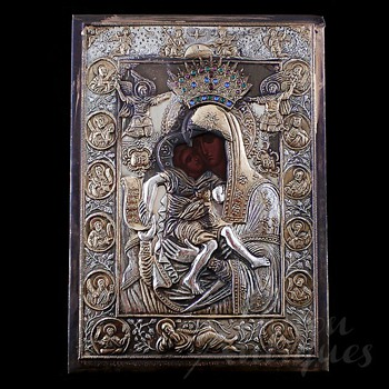 Greek Icon with Silver Riza c. 1890 - Victorian Era