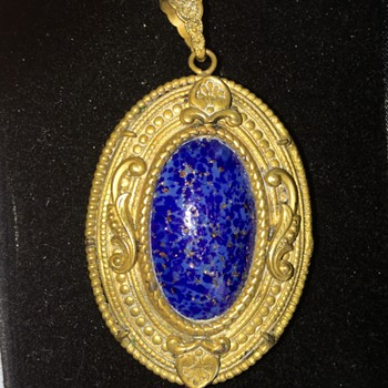 Vintage Antique? Czechoslovakia Signed Cobalt Blue Brass Pentant  - Costume Jewelry