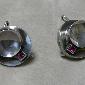 "Circa 50s sterling silver and ruby earrings with unusual ""clip"""