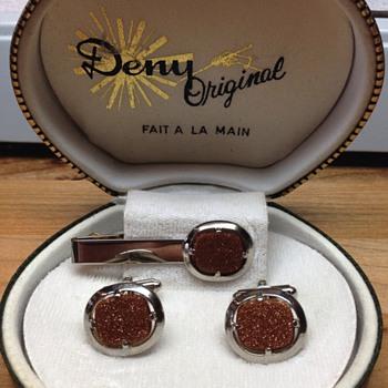 Vintage Goldstone / silver tone Cufflinks & Tie clip
