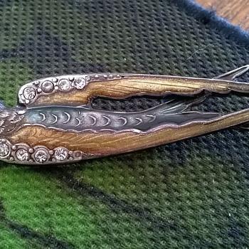 Metal, Enamel & Rhinestone Swallow Brooch, Flea Market Find 1 Euro - Costume Jewelry