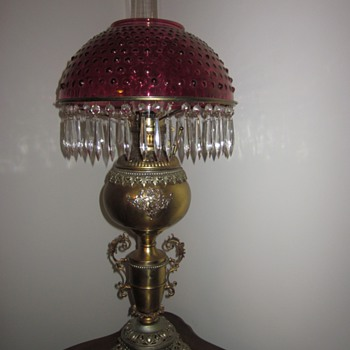 Antique Cranberry Hobnail Oil Lamp