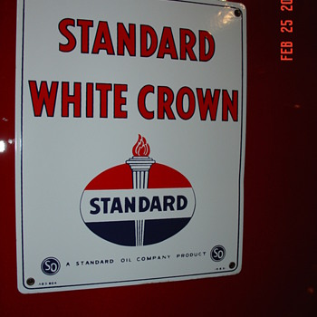 1951 Standard White Crown Pump Plate Porcelain Sign...Three Colors