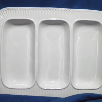 Himark ITALY Segmented SERVING DISH Three Partitions White Pottery Ceramic
