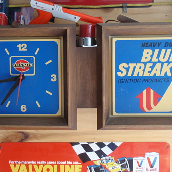 Advertising clock from Englishtown swap meet