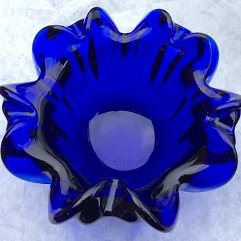 Vintage large bristol blue bowls  - Art Glass
