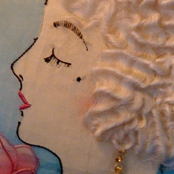 1920s Flapper Pillowcase Vintage Embroidered With Hair and Jewels