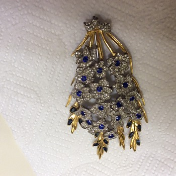 DuJay Sapphire and Rhinestone Large Floral Spray Brooch