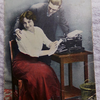 Typewriter on Postcard... and Creepy Lady. - Postcards