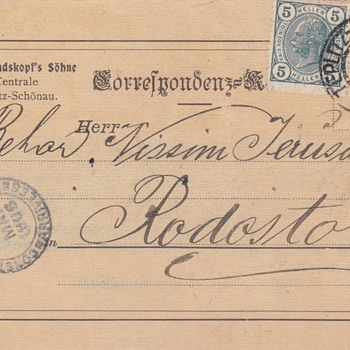 Josef Rindskopf's Sohne (Co.)Teplitz,Bohemia-Post Card- 5 May 1906