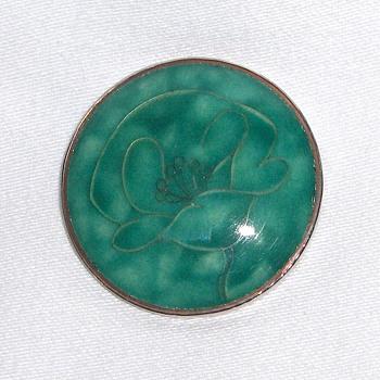 Vintage Japanese Teal Enamel Cloisonne Flower Brooch