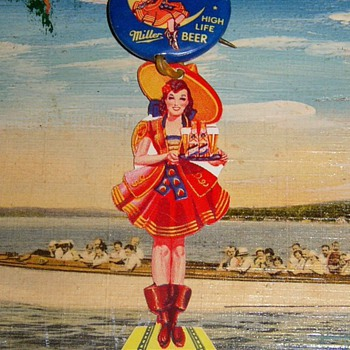 Vintage Miller Beer Moon Girl celluloid Pinback  - Advertising
