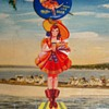 Vintage Miller Beer Moon Girl celluloid Pinback