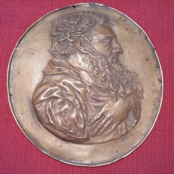 "1801 Copper Relief of Unknown Man-signed ""G.A Collette"""