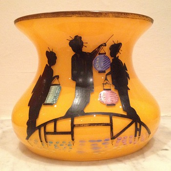 Tango glass rosebowl with enamel chinese figures and lanterns