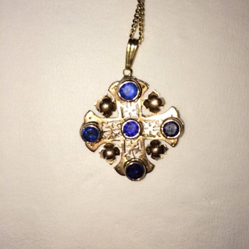 sapphire and gold cross  pendant