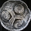 "Signed Clark 8"" Bowl  Pin Wheel and Hobstar Pattern  1910"