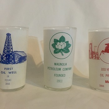Three oiling gas collector souvenir drinking glasses