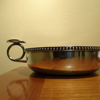 SILVER DISH WITH HANDLE  AND HALLMARKS 