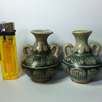 Thailand Siam Glazed Pottery 2 Green Vases - Asian