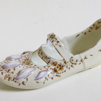 Antique Porcelain Shoe w/Strap, Unknown Blue mark