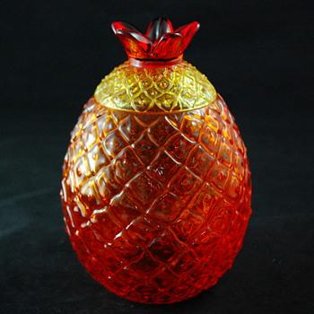 Amberina Glass Pineapple Jar w/ Lid