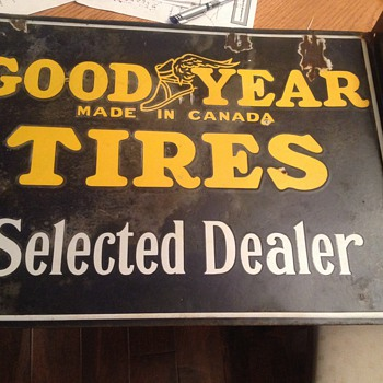Goodyear tires porcelain flange sign  - Signs