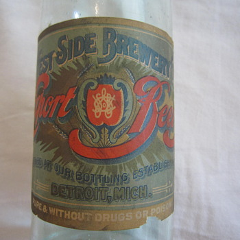 1906-1914 Pre-Prohibition Blob Top West Side Brewery Export Detroit Mich Beer Bottle With Label