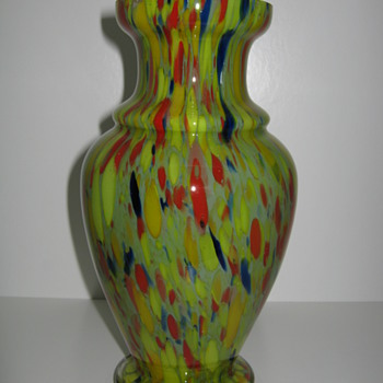 Art Deo Export: Czechoslovakia 1920's  30's  Cased Spatter Glass Vase - Art Glass
