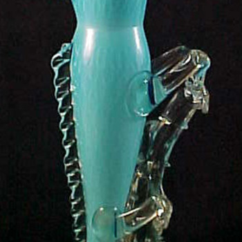 "13"" Bohemian Blue Lizard Climbing Thorn Branch Art Glass Vase"