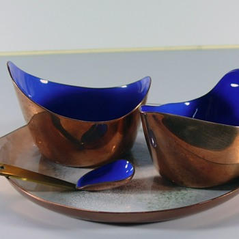 enameled copper sugar and creamer