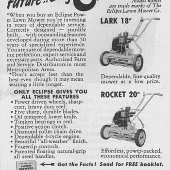 1952 - Eclipse Lawnmower Advertisements - Advertising