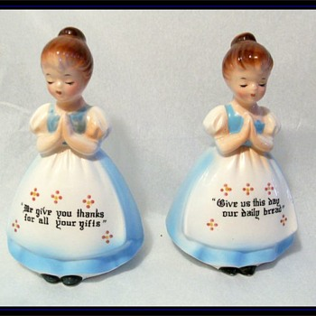 Vintage SALT & PEPPER SHAKERS -- Blue Dressed Ladies - Kitchen