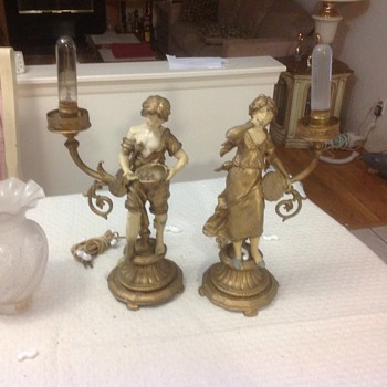 pair of antique lamps his and hers from spain i think
