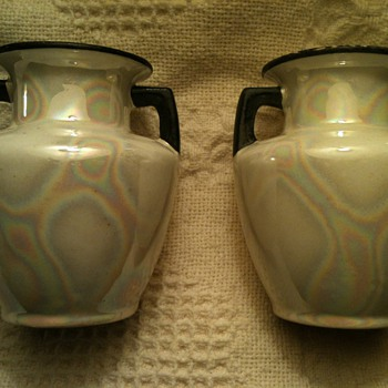 "Two small vases from  Czecho- Slovakia (as marked on bottom) #48 @6"" tall and @4"" wide  - Art Pottery"