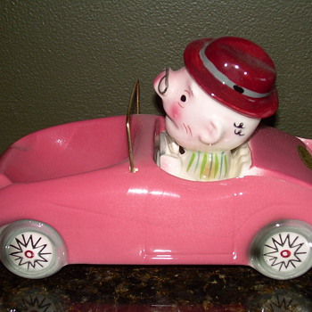 Pink Car Ashtray & holder - Tobacciana