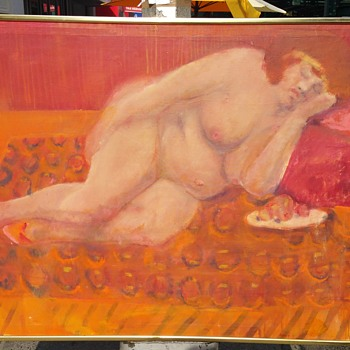 ORIGINAL REALIST PAINTING (NUDE FULL FIGURED WOMAN) Unknown Artist  - Visual Art