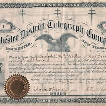 1883 Engraved Stock Certificate For TELEGRAPH CO. Rochester,NY