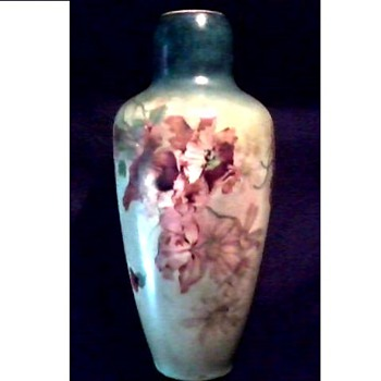 "Austrian Porcelain 9"" Vase / Hand Painted Poppy and Daisy Design /Circa Early 20th Century - Art Pottery"