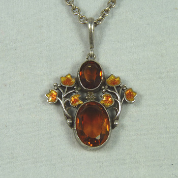 Liberty & Co Citrine and Enamel Pendant, designed by Jessie King