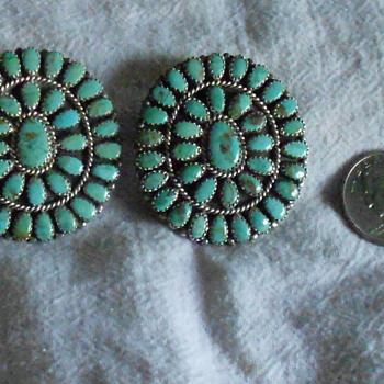 Navajo Petit Point Earrings, signed by Larry Moses Begay - Native American