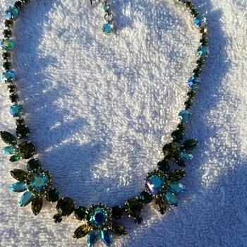 Stunning Green and Blue Rhinestone Necklace marked SHERMAN - Costume Jewelry