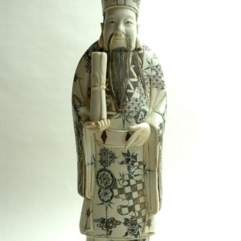 large antique chinese carved ivory or bone figure