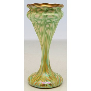 Unusual Quezal Floriform Vase c.1910