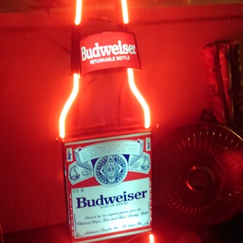 Large Budweiser Returnable Bottles Neon Bottle Wall Sign - Breweriana